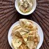 Pita chips with garlicky white bean dip