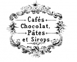 Old fashioned ornate sign for coffee, chocolate, pates and syrups in french