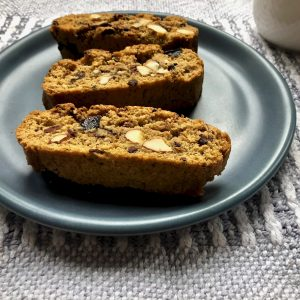 Baked spicy biscotti with a coffee