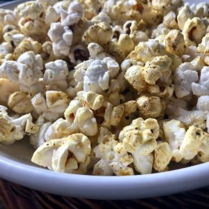 Cooked spicy popcorn in a bowl