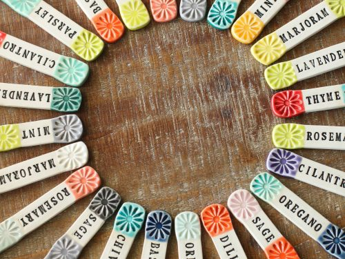 Bright ceramic markers are handy for marking your seeds.