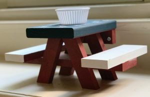 Squirrel picnic table and chairs make a great activity for kids
