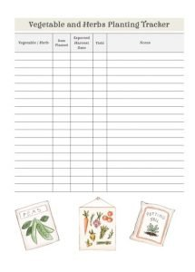 vegetable tracker in sage
