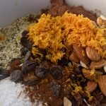 All dry ingredients with orange zest