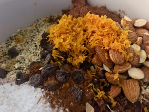 All dry ingredients with orange zest