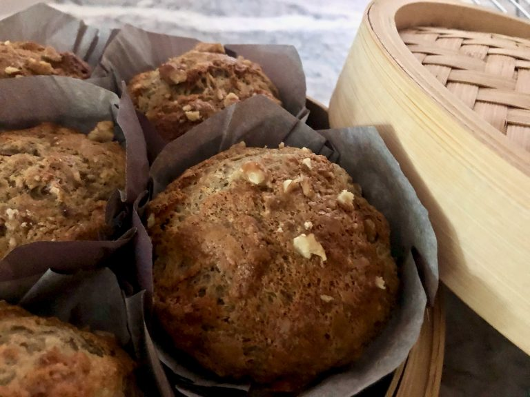 packing muffins in a bamboo steamer