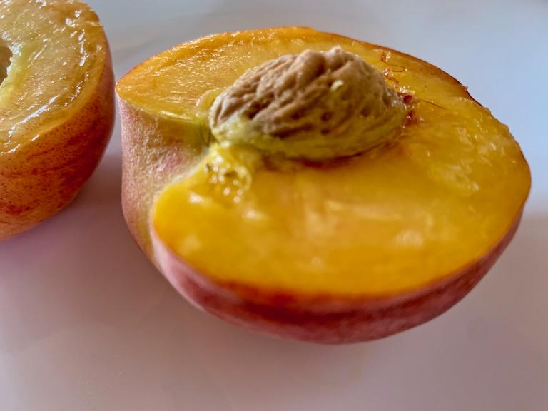 two peach halves