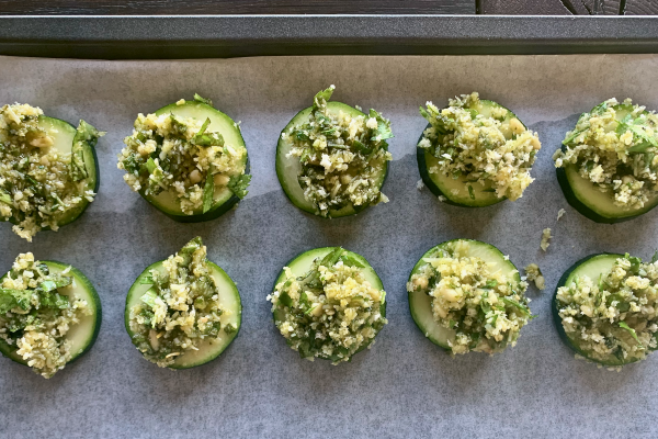 Zucchini slices loaded with pesto