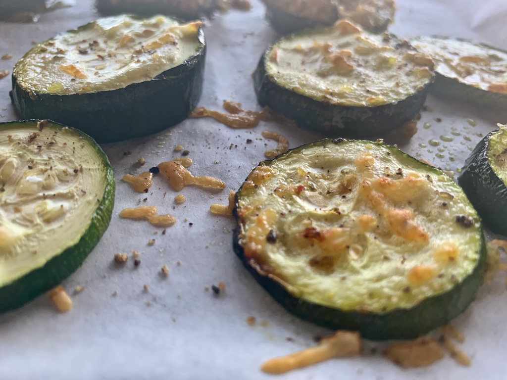 Baked zucchini tops