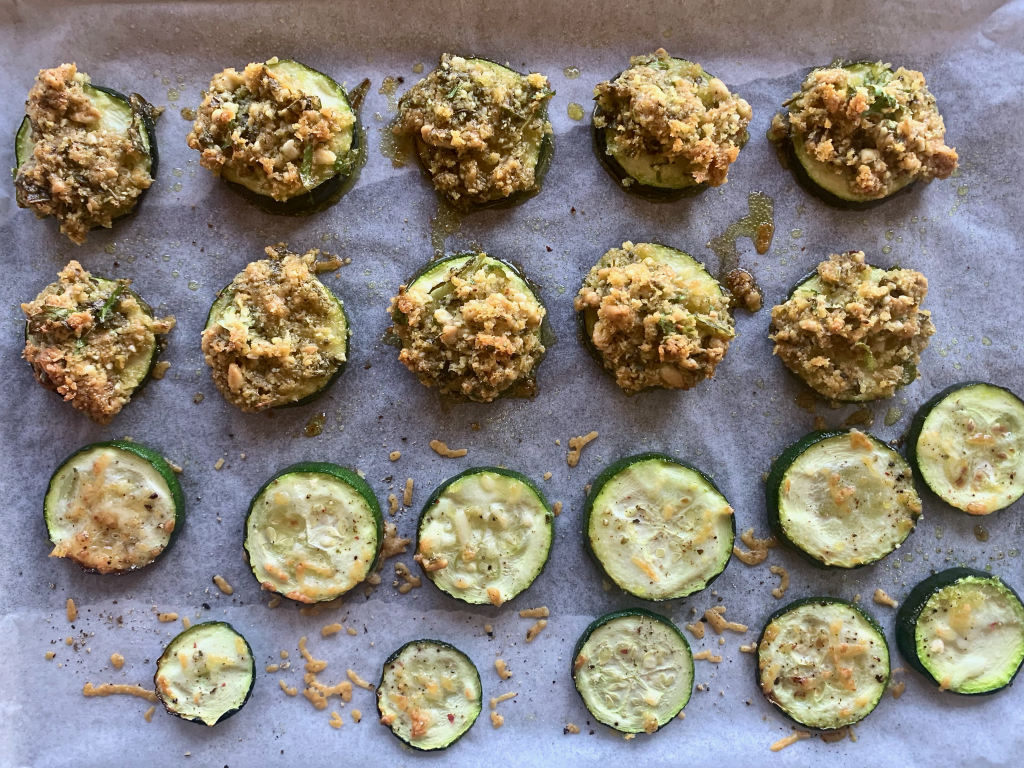 Letting zucchini slices cool