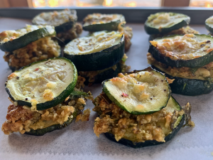 Zucchini sliders on parchment paper