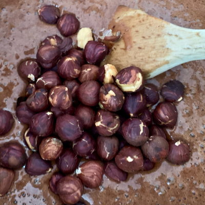 Hazlenuts added to egg flour chocolate mix