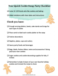 Quick one page check list for hosting a cookie swap party