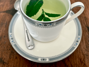 Fresh mint leaves and hot water in a china cup
