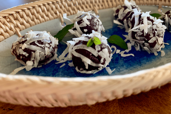 Close up of mint truffles on a dish