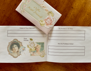 Inside of foldable book with a guest invite