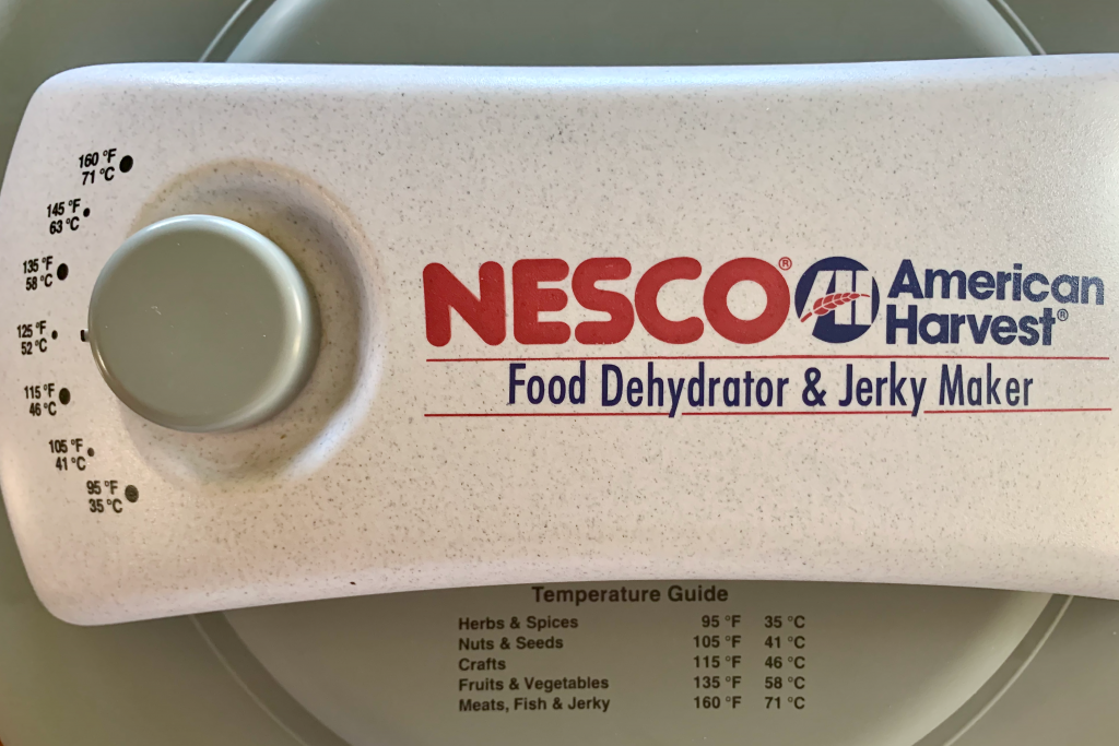NESCO dehydrator showing temperatures
