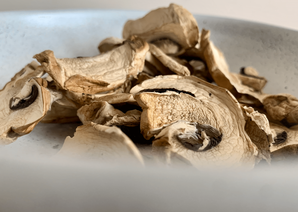 Dehydrated mushrooms in a bowl