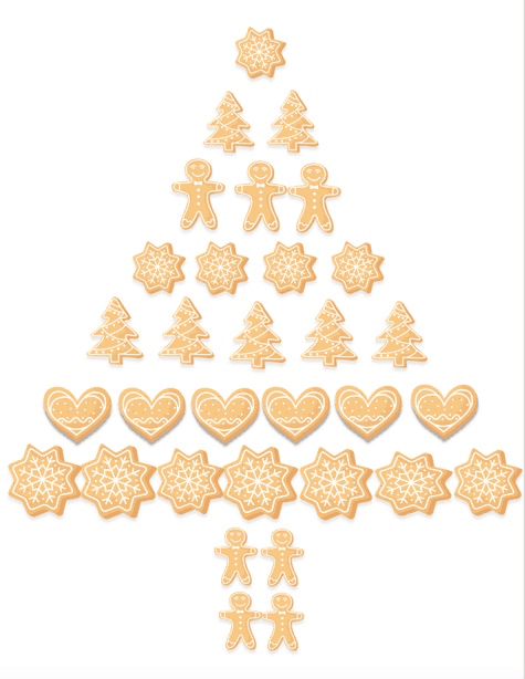 Shortbread and gingerbread cookies set out in the shape of a tree