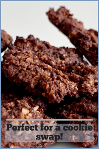 Chocolate double oat cookies on a plate