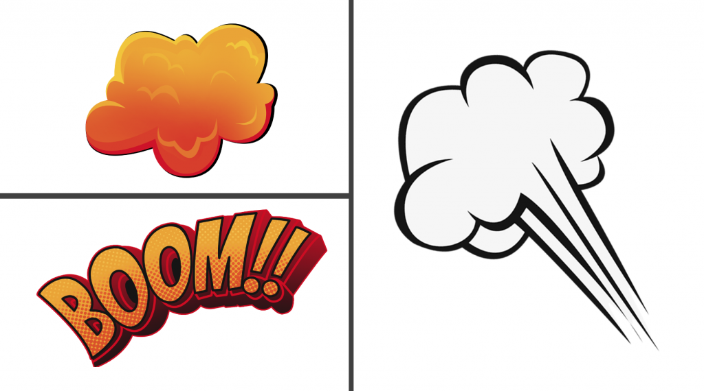 "Two smoke illustrations and the word ""BOOM"" in three boxes"