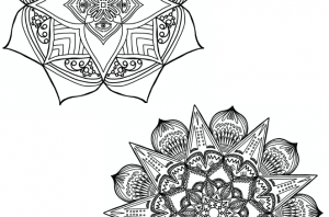 Halves of two mandala patterns