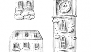 three sketches of medieval stone homes