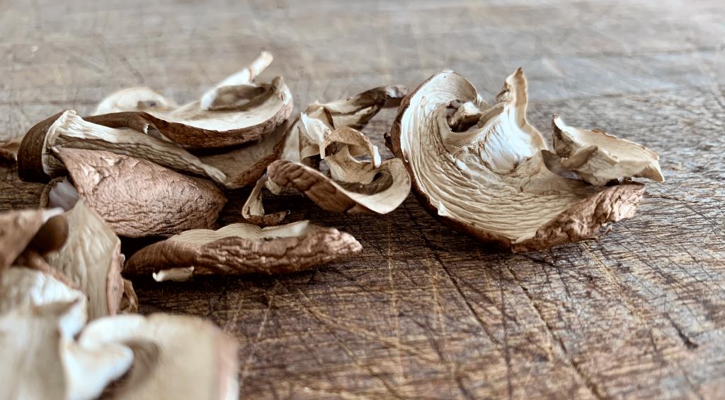 Dehydrated mushrooms on a board