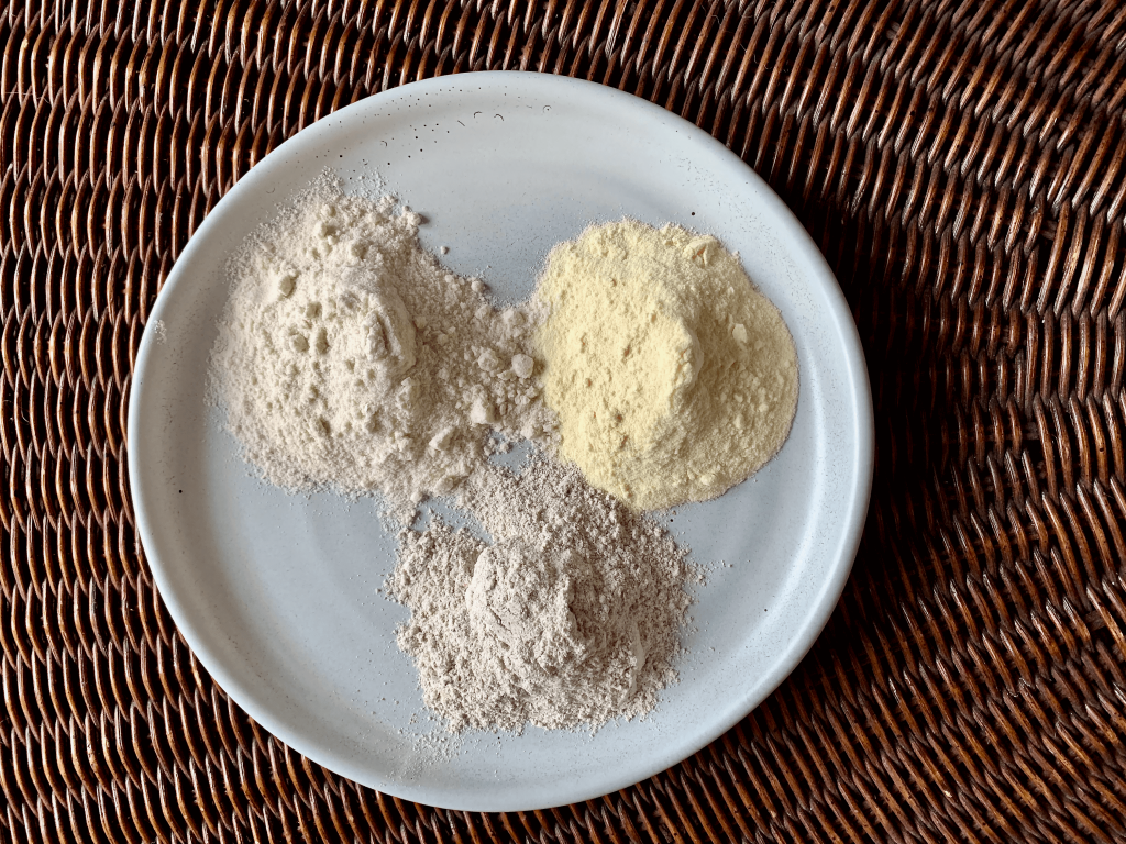 Birdseye view of 3 flours on a plate