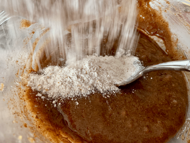 Mixing flour in with wet ingredients