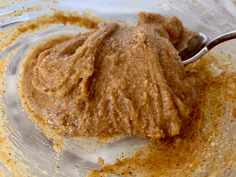 Egg mixed in with almond butter and sugar