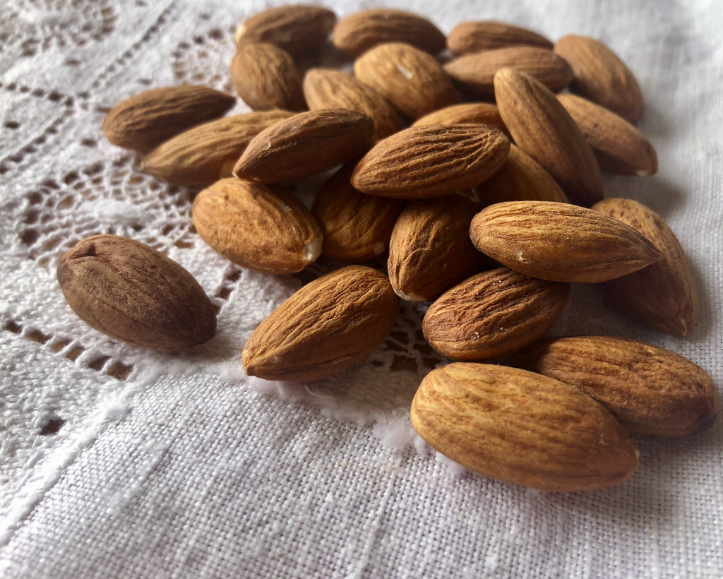 Almonds on a linen cloth