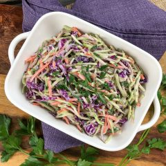 Broccoli-slaw on a purple towel