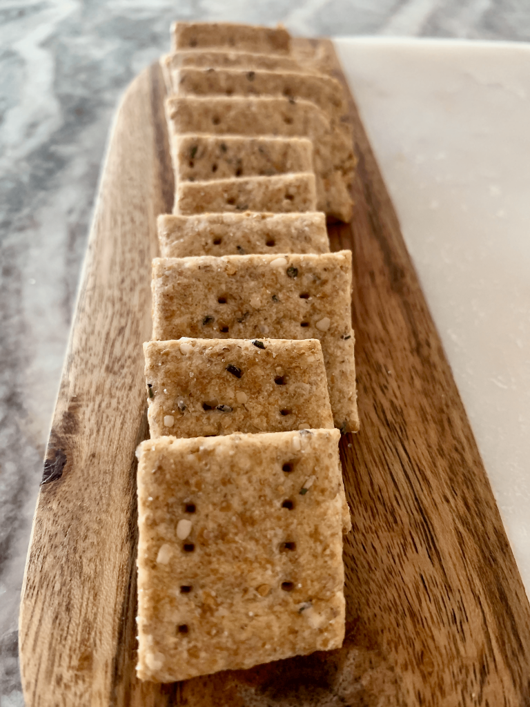 End view of Tirokafteri sourdough crackers