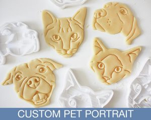 Pet cookie and cracker cutouts, showing the 3D cutter and pastry pet faces