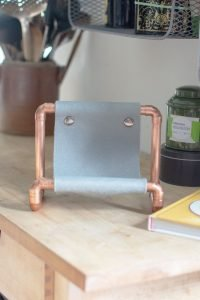 Copper and felt book stand on a kitchen bench