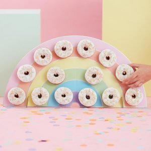 A wall of donuts makes a fun serving suggestion at a party if you're making donuts with holes