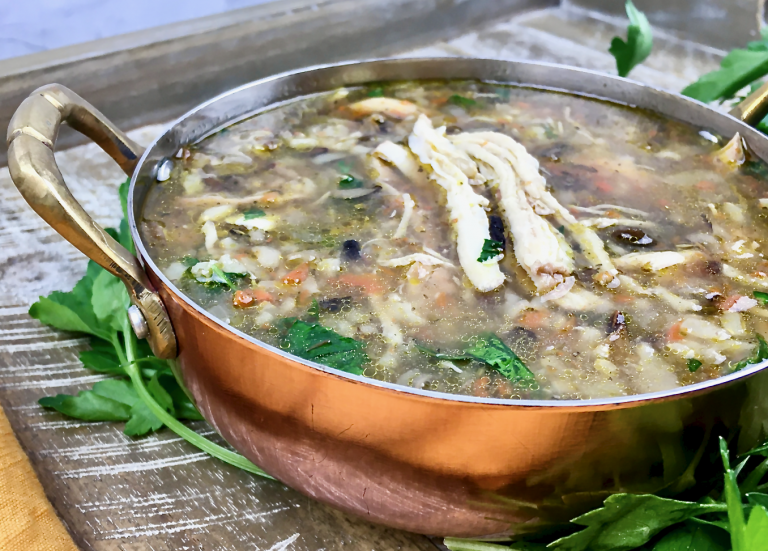 Chicken and wild rice soup in a pan