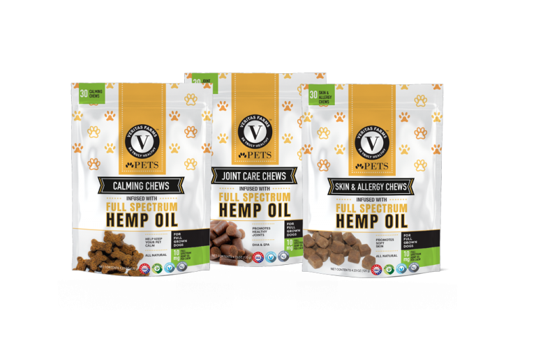 Pet chews with CBD oil to help relieve pain and anxiety