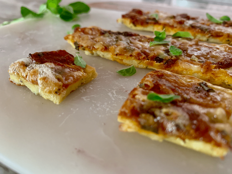 Slices of vegetarian keto pizza