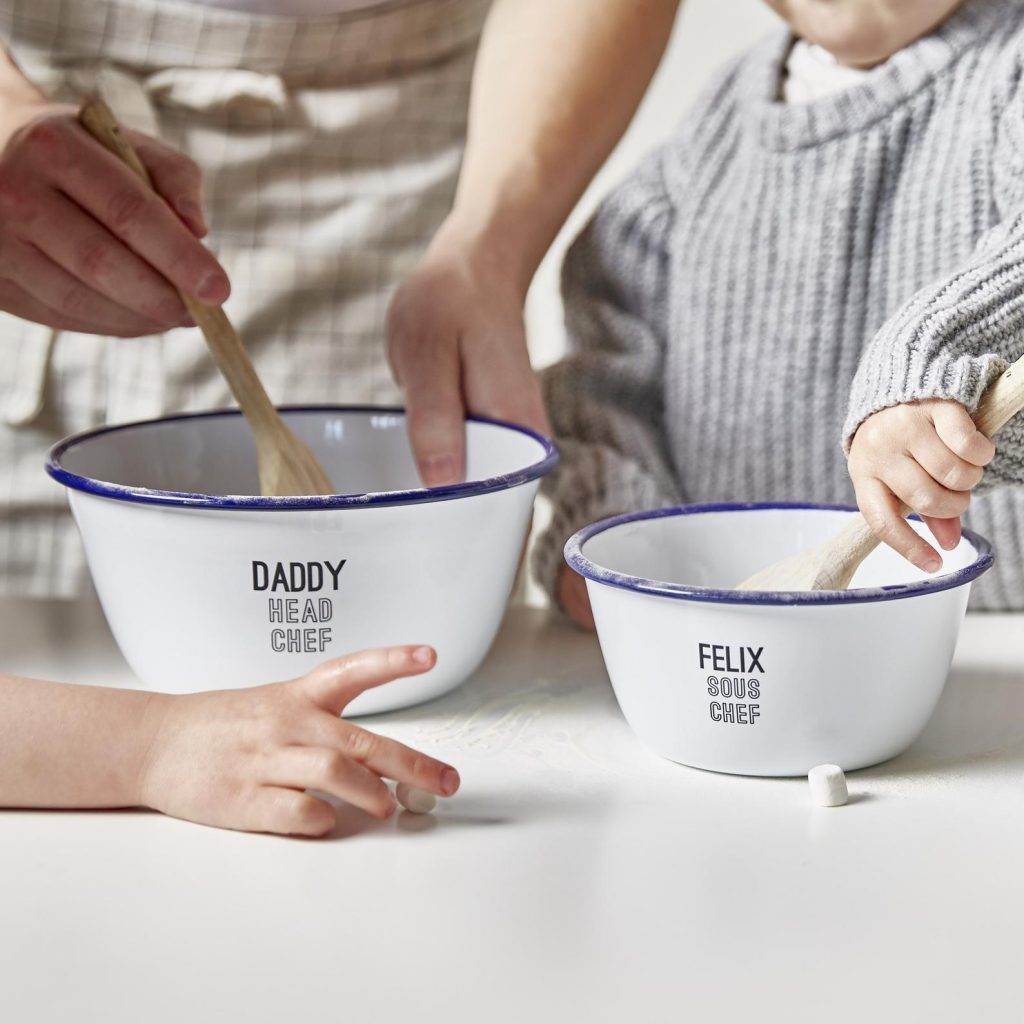Having a mixing bowl with your name in it is the best feeling when you're a kid!
