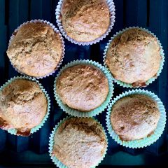 Banana orange oatmeal muffins served