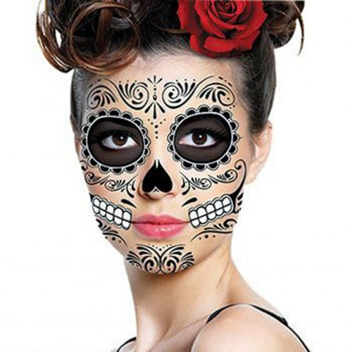 Halloween or Day of the Dead skull face tattoo is easy to apply and remove