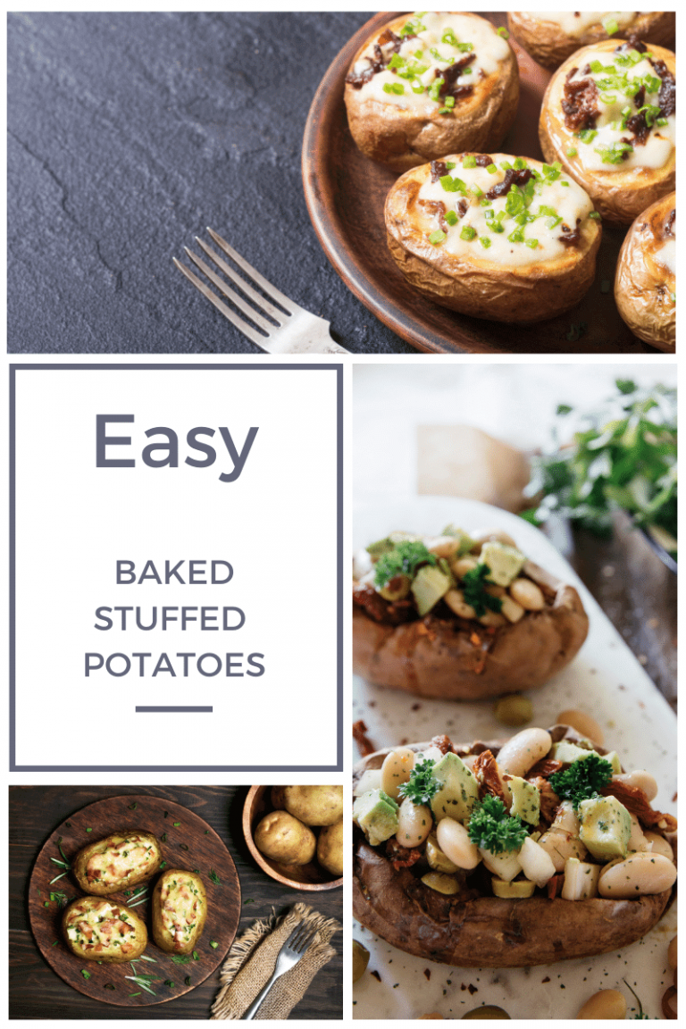 Easy baked stuffed potatoes make an easy, satisfying side dish - omit the bacon and make these vegetarian!