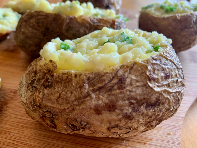 Parsley added to the baked potato flesh