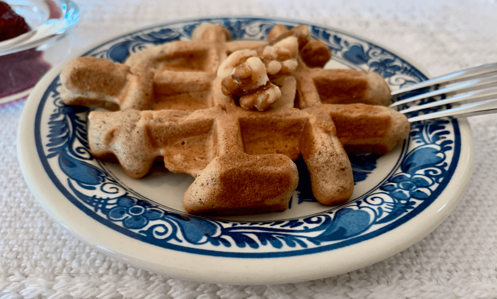 Make mini waffles with less mixture and serve on small plates