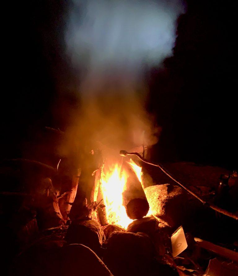 Camp fire roasting marshmallows